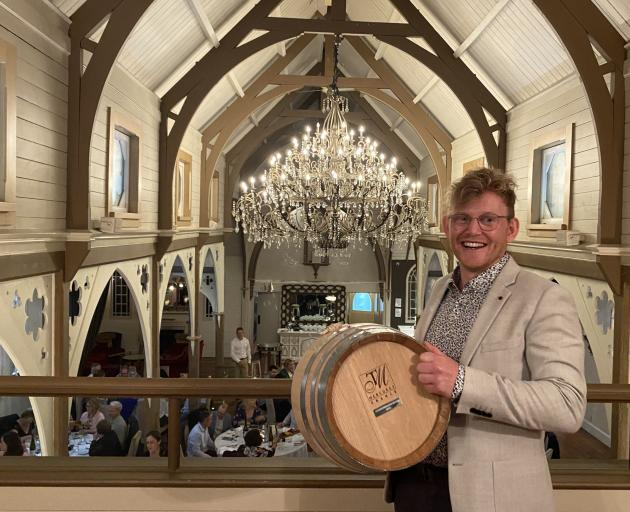 Peregrine Wines assistant winemaker Ben Tombs celebrates his win at the New Zealand Young...