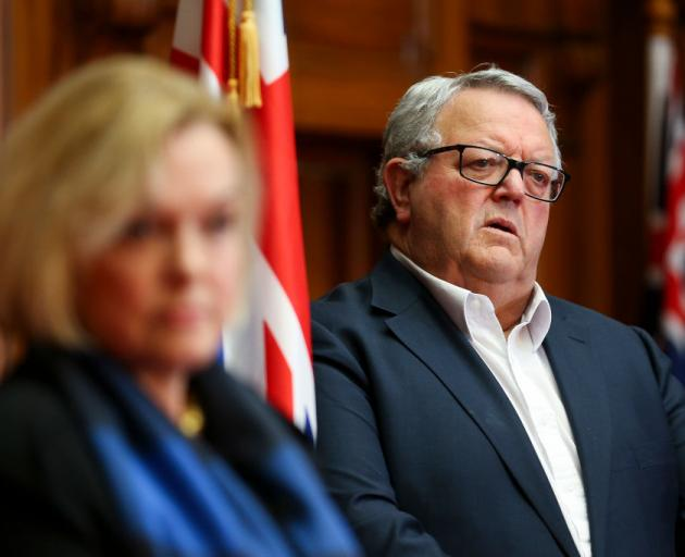 National Party Deputy Leader Gerry Brownlee looks on during a press conference at Parliament...