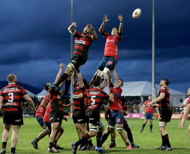Canterbury and Tasman participate in a lineout during their match in Blenheim last night. Photo: Getty Images