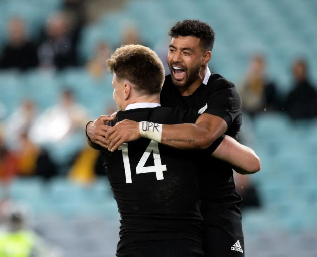 Jordie Barrett (left) and Richie Mo'unga, who scored two tries for the All Blacks. Photo: Getty...