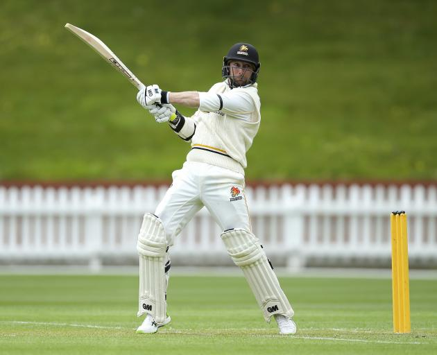 Devon Conway in typically belligerent form during a Plunket Shield match at the Basin Reserve for...