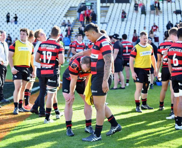 A relieved Canterbury side following their one-point win over Auckland in Christchurch today....