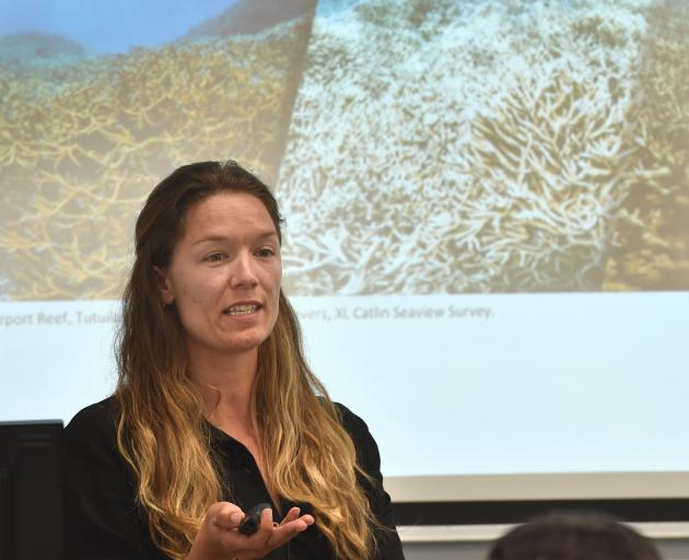 Ocean acidification researcher Hannah Heynderickx talks about climate change. PHOTO: GREGOR...