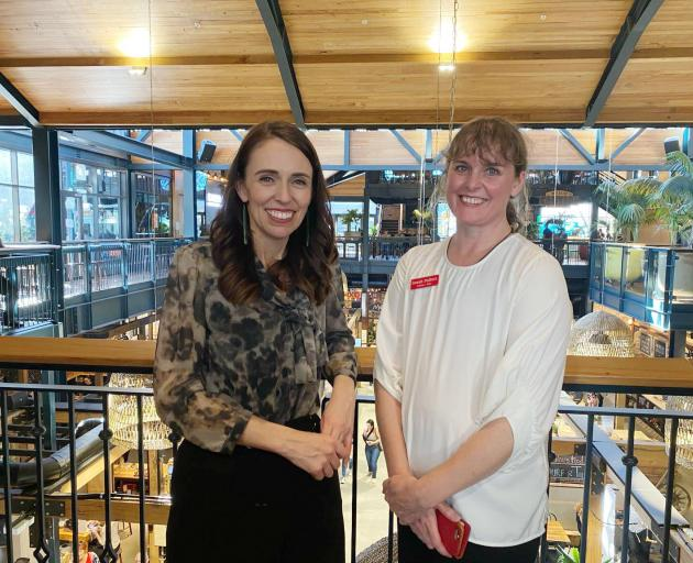 Sarah Pallett and Prime Minister Jacinda Ardern at the Riverside Market. Photo: Supplied