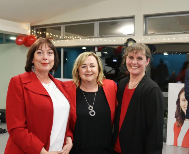 Sarah Pallett with newly-elected Banks Peninsula MP Tracey McLellan (left) and Wigram MP Megan...