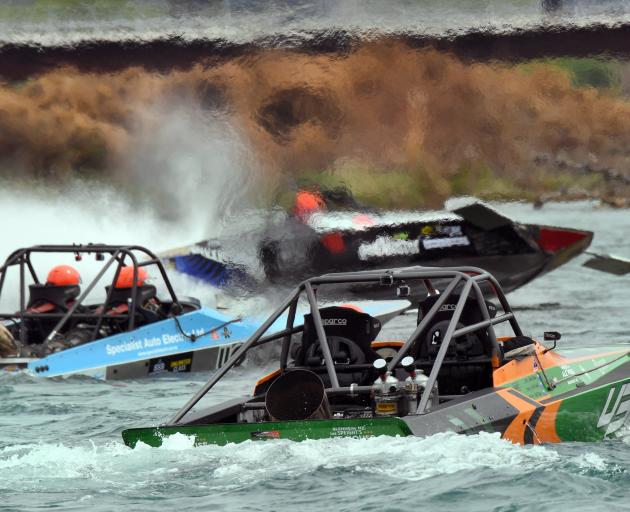 Turbine-powered jet-boats prepare to start the second leg of yesterday's action of the New...