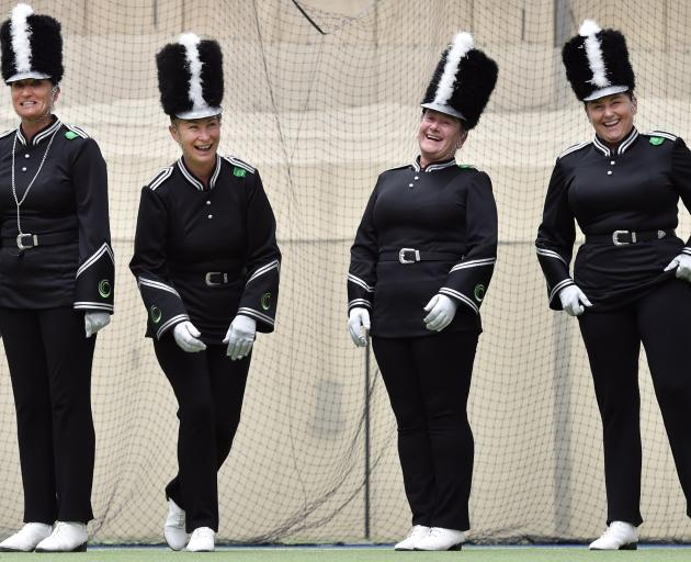 Onyx Militaires Masters marching team members (from left) Deanne Burrell, Maree Cross, Sue-ellen ...