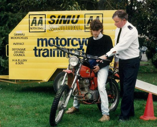 In the late-1970s, Rice set up a motorcycle training unit for young riders. Here he shows a...