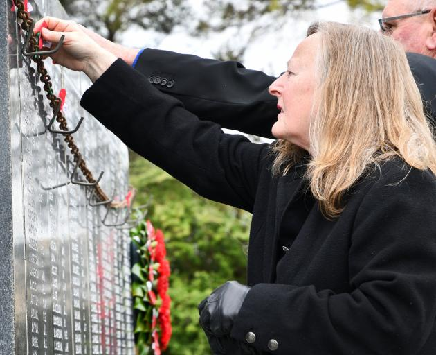 In honour of her father, Vicki Smith attended the Armistice Day service in Invercargill yesterday.