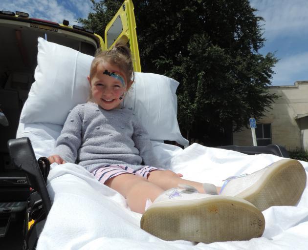 Amiria Pakeha (4) tries out a St John ambulance bed. PHOTOS: KAYLA HODGE