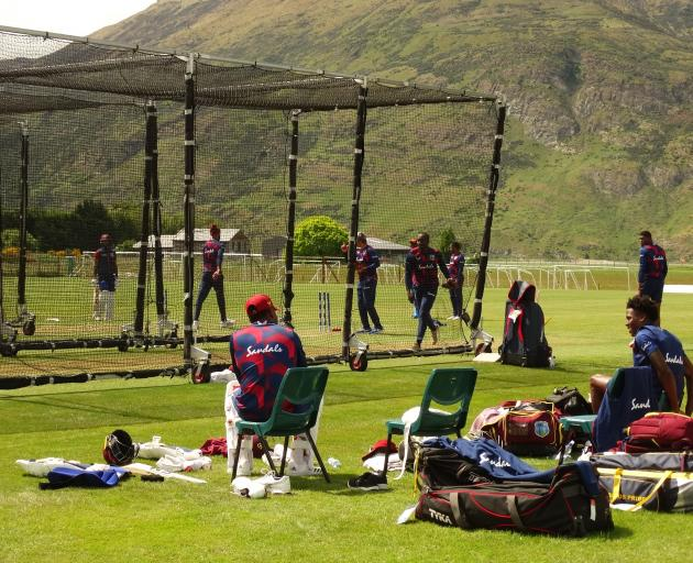 Members of the West Indies cricket squad practise at an open net session at the Queenstown Events...