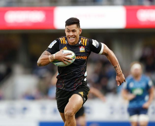 New Highlanders winger Solomon Alaimalo on the run for the Chiefs during the Super Rugby season....