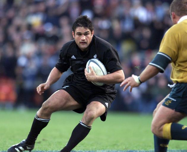 Taine Randell in action during the New Zealand All Blacks v Australia Tri-Nations match at Westpac Trust Stadium in 2000. Photo: Scott Barbour/ALLSPORT via Getty Images