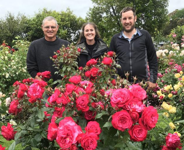 Tauranga rose breeder Rob Somerfield (left) of Glenavon Roses Ltd, Palmerston North rose garden...