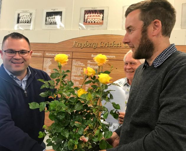 Tangi Utikere, elected MP for Palmerston North in October, accepts the new rose Pride of Palmy...
