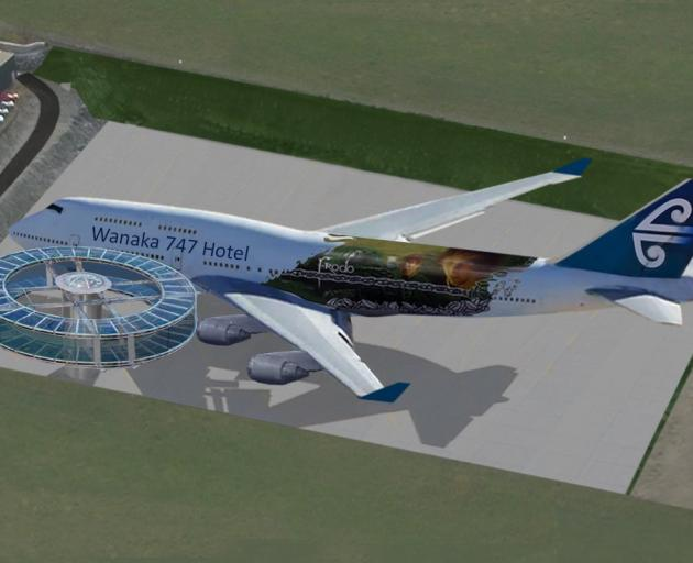 An artist's impression of how a former Air New Zealand Boeing 747 might appear as a hotel at...