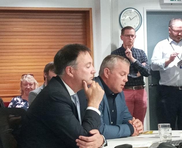 Christchurch International Airport executives Michael Singleton (left) and Rhys Boswell speak at...