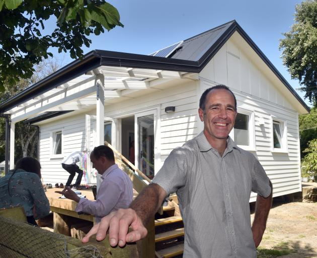 Scott Willis at the opening of the Climate Safe House in Waitati. PHOTO : PETER MCINTOSH