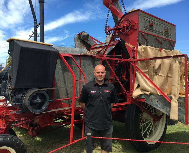 Gareth Rowlands, of Kirwee, hopes this 1935 combine harvester, which is owned by his uncle, Alan...