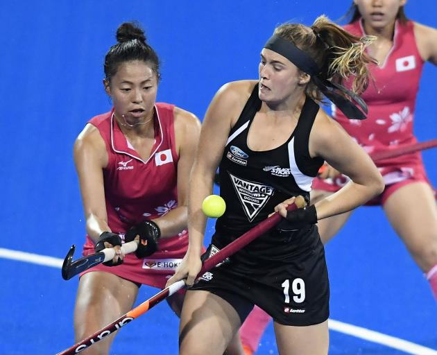 Black Stick Tessa Jopp plays against Japan during the 2017 Festival of Hockey in Hastings. PHOTO:...