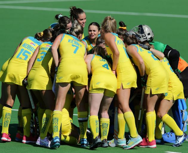 The Hockeyroos huddle during the FIH Hockey Olympic Qualifiers match between the Australian Hockeyroos and Russia in October last year. Photo: Getty Images