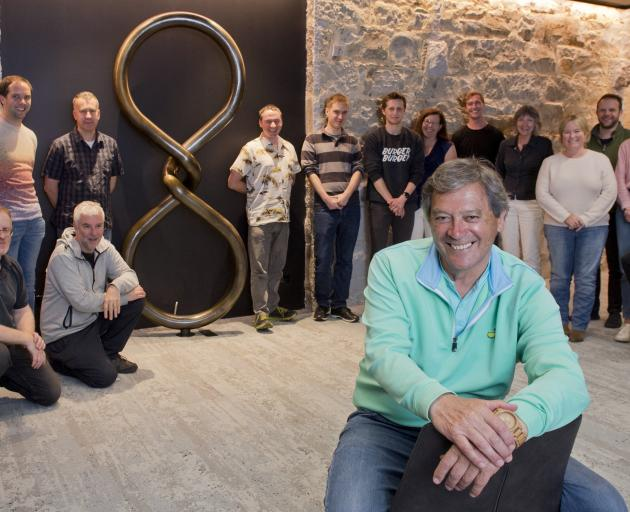 Sir Ian Taylor and some of his team at Animation Research's Dunedin offices. PHOTO: GERARD O'BRIEN