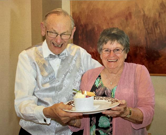 Fred and Pearl Adams on their 60th wedding anniversary. Photo: Supplied