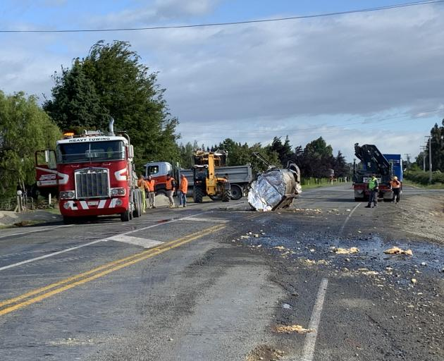 Bitumen spilled on to the highway after the crash. Photo: Abbey Palmer
