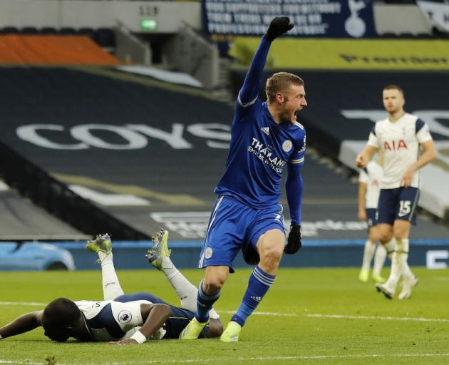 Jamie Vardy celebrates scoring for Leicester against Spurs this morning. Photo: Getty Images