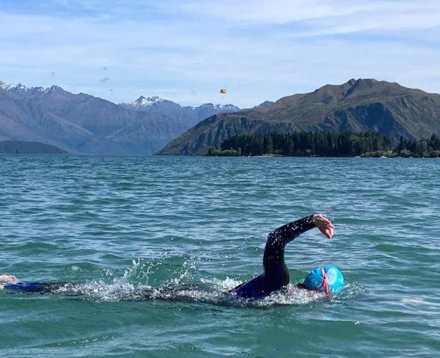 Meg McLaughlan swims in Lake Wanaka earlier this month. PHOTOS: SUPPLIED