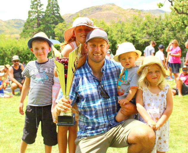 Three-time national cherry stone spitting champion Aaron Collins, of Dunedin, with his biggest...