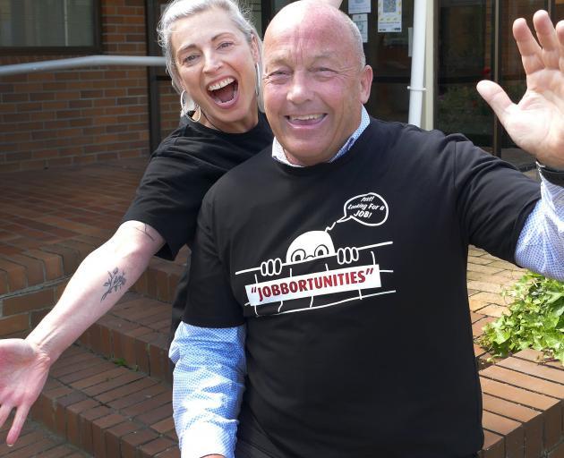 Jobbortunities initiative organisers Ruth Carraway and Clutha Mayor Bryan Cadogan celebrate...
