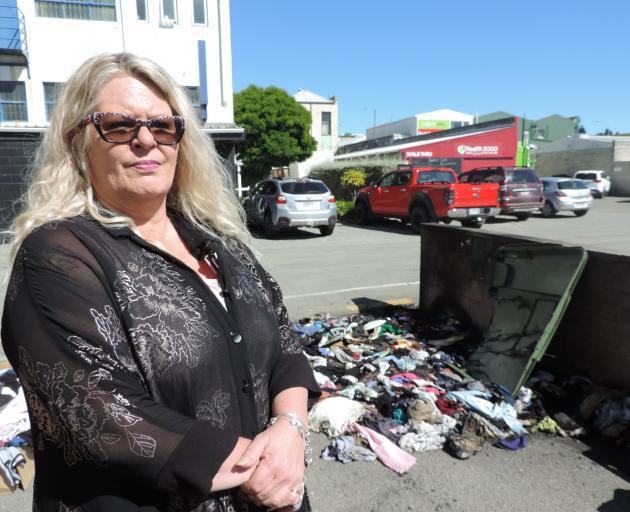 Oamaru Charity Shop manager Bonnie McLellan described the shop's burnt bin as a ''nuisance''....