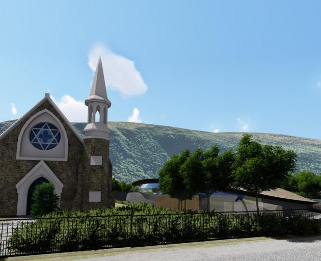 An artist's impression of the ''Olive Leaf'' building, obscured by trees, next to St Patrick's...