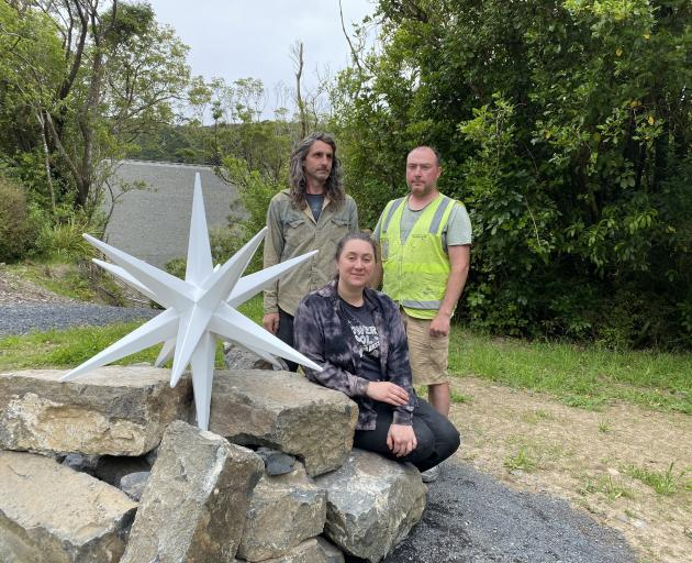 Dunedin artists Ross Sinclair (left) and Katrina Thompson (seated) are thrilled at the...