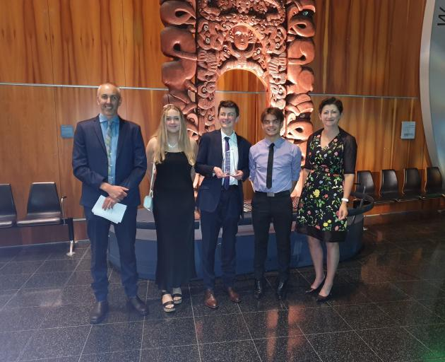 At the Young Enterprise Scheme national finals at Te Papa in Wellington last week were (from left...