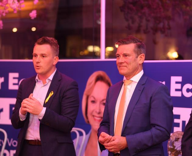 Defeated National Party Taieri candidate Liam Kernaghan (left) and Dunedin-based list MP Michael...