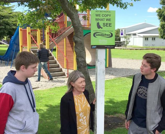 Discussing the Clutha Youth Council's smoke-free survey results at the Balclutha Bridge...