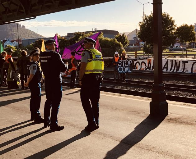 Police at the Extinction Rebellion protest this morning. Photo: Craig Baxter