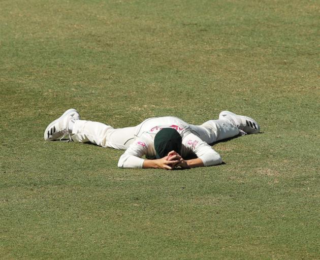 Australia's Sean Abbott after missing the chance to catch Ravichandran Ashwin in Sydney. Photo:...