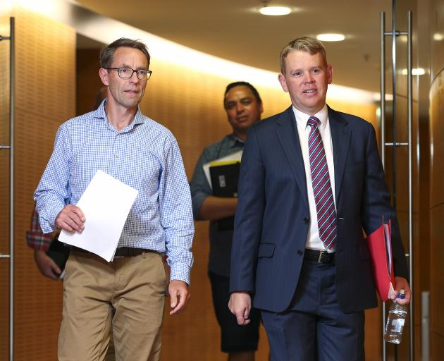 Director-General of Health Ashley Bloomfield (left) and Covid 19 Response Minister Chris Hipkins...