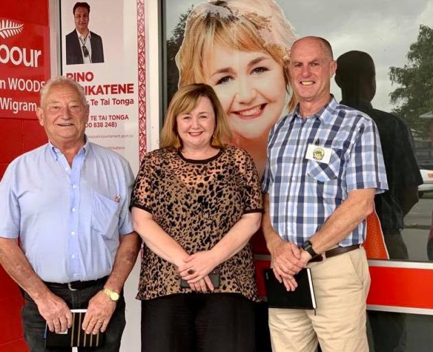 Murray McGusty, with Halswell-Hornby-Riccarton Community Board chairman Mike Mora (left) and...