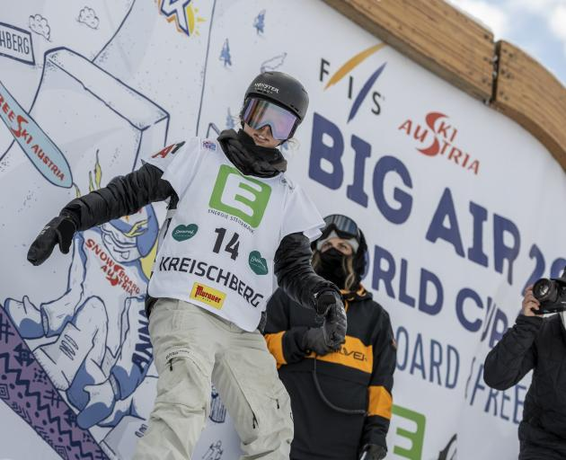 Zoi Sadowski-Synnott in the start gate at the Kreischberg Big Air World Cup yesterday. PHOTO:...
