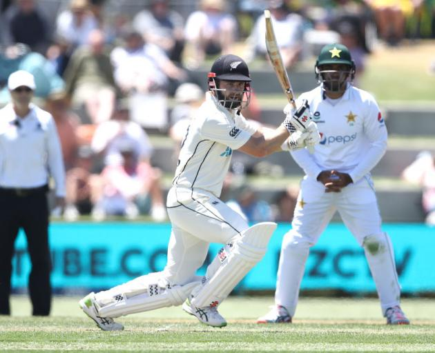Kane Williamson of New Zealand bats during day one of the first test match in the series between...