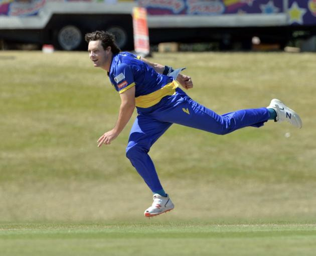 Mitchell McClenaghan bowls for the Otago Volts earlier this year. Photo: GREGOR RICHARDSON