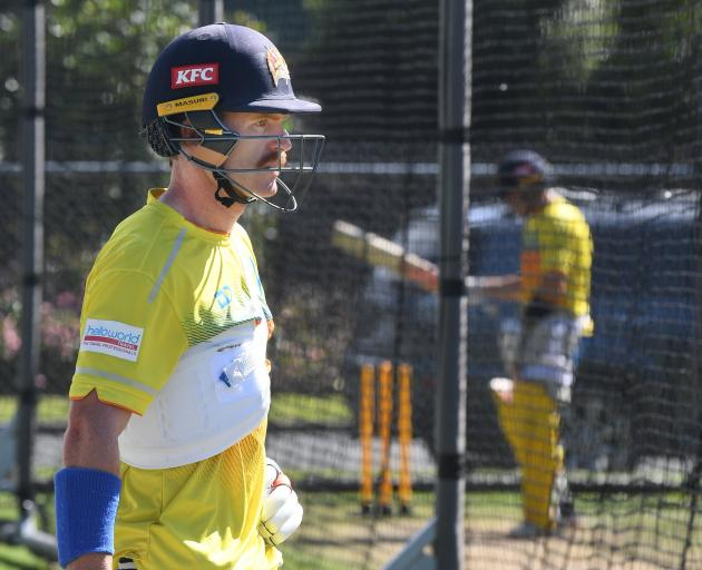 Otago Volts batsman Nick Kelly trains at the University Oval on Tuesday. PHOTO: STEPHEN JAQUIERY