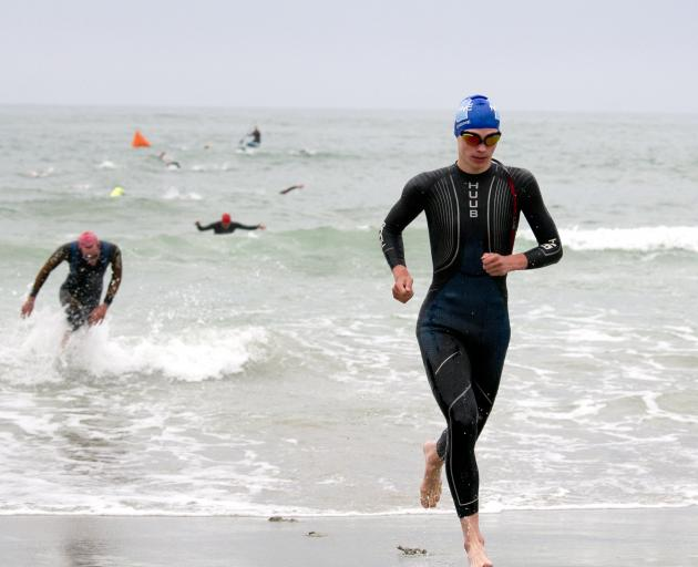 First out of the water was Grayson Westgate, followed by Thomas Heaton.