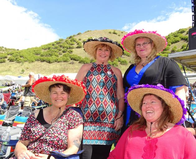 Wearing their fancy homemade hats are (from left) Marion Crawford, Denise Beynon, Allie Wilson...