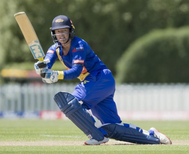 Sparks batswoman Hayley Jensen plays past square leg during her side's Super Smash clash against...