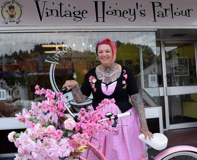 Vintage Honey's Parlour owner Nicola Chisholm arrives on her bike to her new business premise in...
